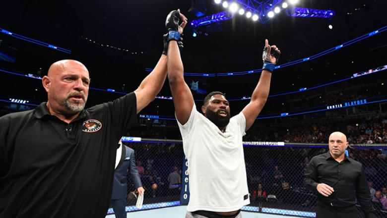 CHICAGO, ILLINOIS - JUNE 09:  Curtis Blaydes celebrates after defeating Alistair Overeem in their heavyweight fight during the UFC 225 event at the United Center on June 9, 2018 in Chicago, Illinois. (Photo by Josh Hedges/Zuffa LLC/Zuffa LLC via Getty Ima