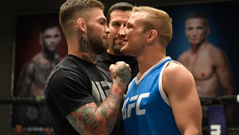 LAS VEGAS, NV - MARCH 01:  (L-R) UFC bantamweight champion Cody Garbrandt and TJ Dillashaw face off during the filming of The Ultimate Fighter: Redemption at the UFC TUF Gym on March1, 2017 in Las Vegas, Nevada. (Photo by Brandon Magnus/Zuffa LLC/Zuffa LL