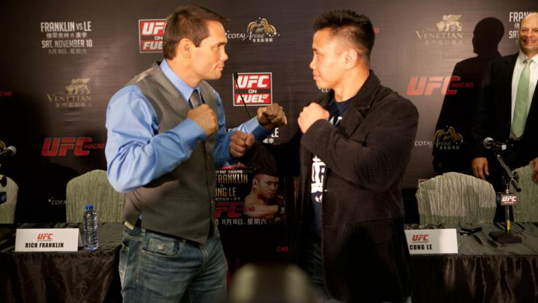 MACAO, CHINA - SEPTEMBER 6: Rich Franklin and Cung Le face off during a press conference at The Venetian® Macao-Resort-Hotel on September 6, 2012 in Macao, China. (Photo by Zuffa LLC)