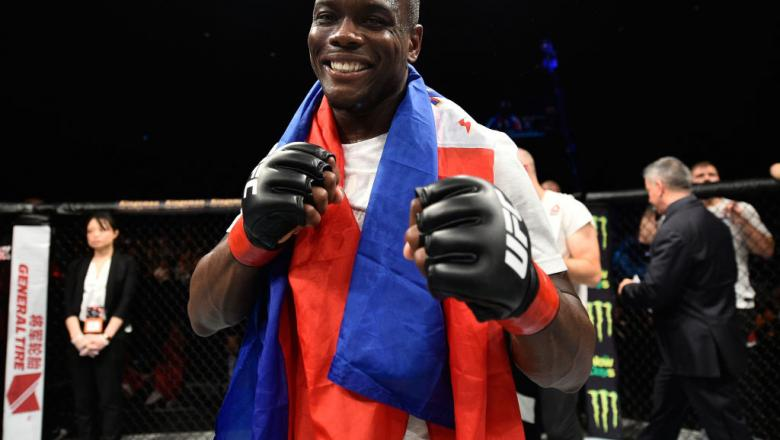 Ovince Saint Preux celebrates his submission victory over Yushin Okami of Japan in their light heavyweight bout during the UFC Fight Night event inside the Saitama Super Arena on September 22, 2017 in Saitama, Japan. (Photo by Jeff Bottari/Zuffa LLC)