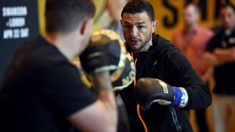 NASHVILLE, TN - APRIL 20:  Cub Swanson holds an open workout for fans and media at the Bridgestone Arena Atrium on April 20, 2017 in Nashville, Tennessee. (Photo by Jeff Bottari/Zuffa LLC/Zuffa LLC via Getty Images)