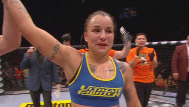 Raquel Pennington Hand Raised after fight at TUF 18 Finale