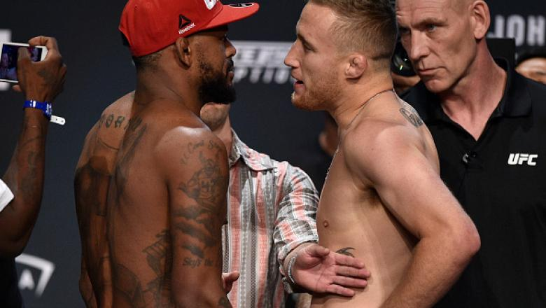 LAS VEGAS, NV - JULY 06:  (L-R) Opponents Michael Johnson and Justin Gaethje poses on the scale during the UFC weigh-in at the Park Theater on July 6, 2017 in Las Vegas, Nevada. (Photo by Jeff Bottari/Zuffa LLC/Zuffa LLC via Getty Images)