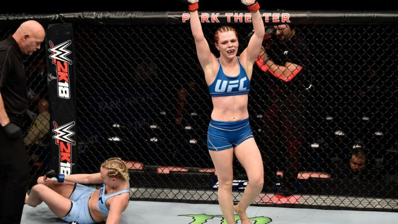 LAS VEGAS, NV - DECEMBER 01:  Gillian Robertson of Canada celebrates after her submission victory over Emily Whitmire in their women's flyweight bout during the TUF Finale event inside Park Theater on December 01, 2017 in Las Vegas, Nevada. (Photo by Jeff