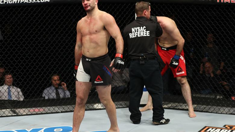ALBANY, NY - DECEMBER 09:  Gian Villante celebrates after his TKO victory over Saparbek Safarov of Russia in their light heavyweight bout during the UFC Fight Night event at the Times Union Center on December 9, 2016 in Albany, New York. (Photo by Patrick