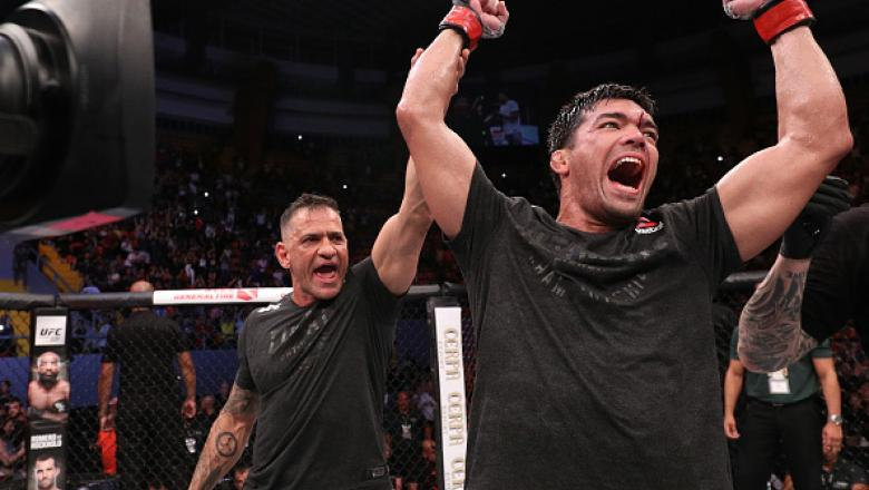 BELEM, BRAZIL - FEBRUARY 03:  Lyoto Machida of Brazil celebrates his victory over Eryk Anders in their middleweight bout during the UFC Fight Night event at Mangueirinho Arena on February 03, 2018 in Belem, Brazil. (Photo by Buda Mendes/Zuffa LLC/Zuffa LL