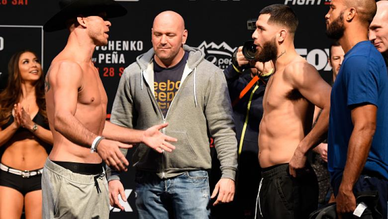DENVER, COLORADO - JANUARY 27:  (L-R) Donald Cerrone and Jorge Masvidal face off during the UFC Fight Night weigh-in at the Pepsi Center on January 27, 2017 in Denver, Colorado. (Photo by Josh Hedges/Zuffa LLC/Zuffa LLC via Getty Images)