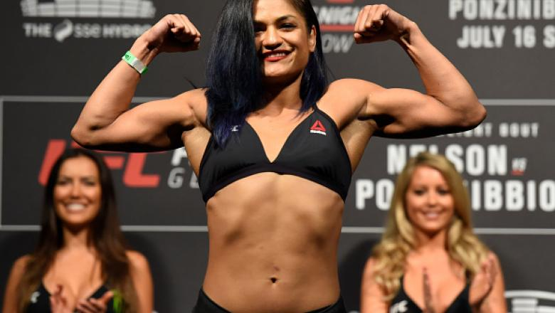 GLASGOW, SCOTLAND - JULY 15:  Cynthia Calvillo poses on the scale during the UFC Fight Night weigh-in at the SSE Hydro Arena Glasgow on July 15, 2017 in Glasgow, Scotland. (Photo by Josh Hedges/Zuffa LLC/Zuffa LLC via Getty Images)