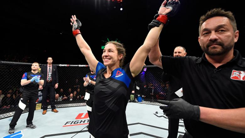 HALIFAX, NS - FEBRUARY 19:  Sara McMann celebrates after defeating Gina Mazany in their women's bantamweight fight during the UFC Fight Night event inside the Scotiabank Centre on February 19, 2017 in Halifax, Nova Scotia, Canada. (Photo by Josh Hedges/Zu