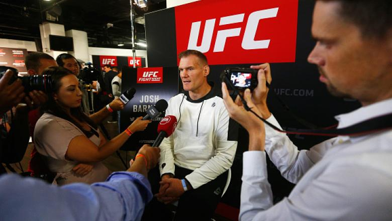 HAMBURG, GERMANY - SEPTEMBER 01:  Josh Barnett of the USA speaks to the press during the Ultimate Media Day for the UFC Fight Night held at Barclaycard Arena on September 1, 2016 in Hamburg, Germany.  Andrei 'The Pit Bull' Arlovski and Josh 'The Warmaster