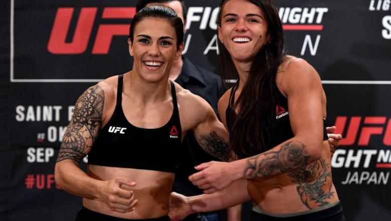 TOKYO, JAPAN - SEPTEMBER 21:  (R-L) Opponents Claudia Gadelha of Brazil and Jessica Andrade of Brazil face off during the UFC Fight Night Weigh-in at the Hilton Tokyo on September 21, 2017 in Tokyo, Japan. (Photo by Jeff Bottari/Zuffa LLC/Zuffa LLC via Ge