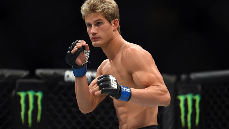 HOUSTON, TX - OCTOBER 03:  Sage Northcutt looks to strike Francisco Trevino in their lightweight bout during the UFC 192 event at the Toyota Center on October 3, 2015 in Houston, Texas. (Photo by Jeff Bottari/Zuffa LLC/Zuffa LLC via Getty Images)
