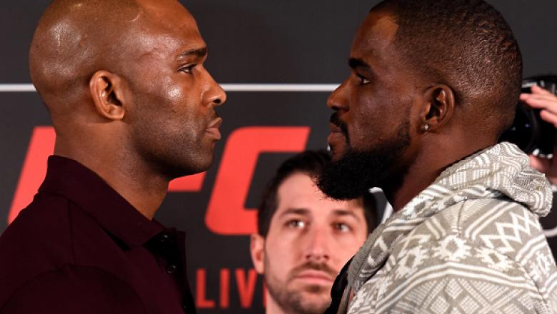 LONDON, ENGLAND - MARCH 16:  (L-R) Opponents Jimi Manuwa of England and Corey Anderson face off during the UFC Ultimate Media Day at Glaziers Hall on March 16, 2017 in London, England. (Photo by Josh Hedges/Zuffa LLC/Zuffa LLC via Getty Images)