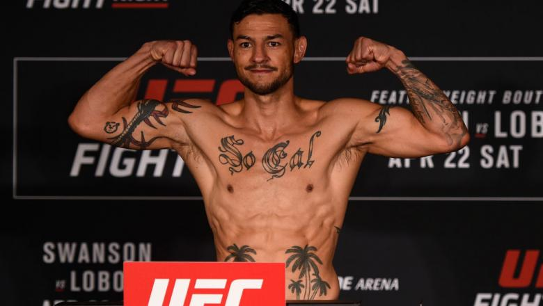 NASHVILLE, TN - APRIL 21:  Cub Swanson poses on the scale during the UFC Fight Night weigh-in at the Sheraton Music City Hotel on April 21, 2017 in Nashville, Tennessee. (Photo by Jeff Bottari/Zuffa LLC/Zuffa LLC via Getty Images)