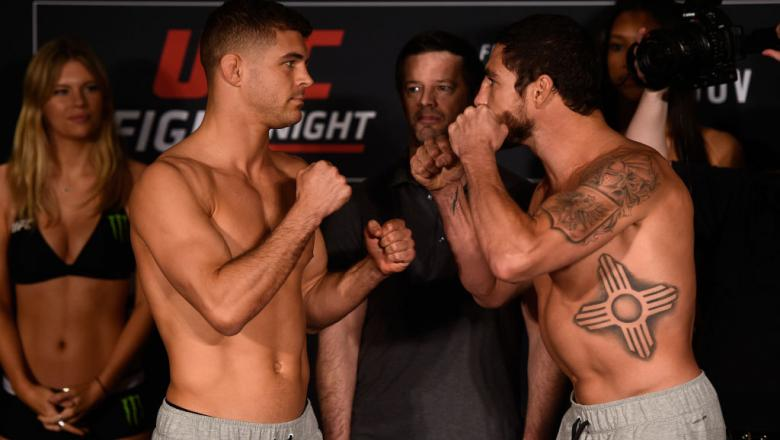 NASHVILLE, TN - APRIL 21:  (L-R) Al Iaquinta and Diego Sanchez face off during the UFC Fight Night weigh-in at the Sheraton Music City Hotel on April 21, 2017 in Nashville, Tennessee. (Photo by Jeff Bottari/Zuffa LLC/Zuffa LLC via Getty Images)
