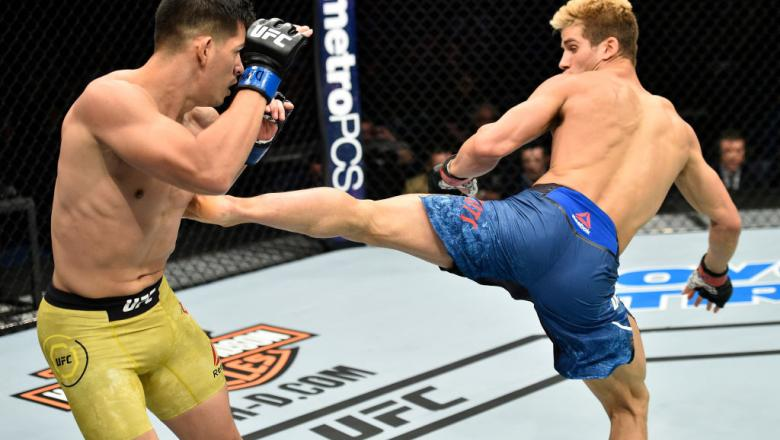 Sage Northcutt kicks Michel Quinones in their lightweight bout during the UFC Fight Night event inside the Ted Constant Convention Center on November 11, 2017 in Norfolk, Virginia. (Photo by Brandon Magnus/Zuffa LLC)