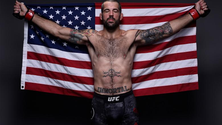 NORFOLK, VA - NOVEMBER 11:  Matt Brown poses for a post fight portrait backstage during the UFC Fight Night event inside the Ted Constant Convention Center on November 11, 2017 in Norfolk, Virginia. (Photo by Mike Roach/Zuffa LLC/Zuffa LLC via Getty Image
