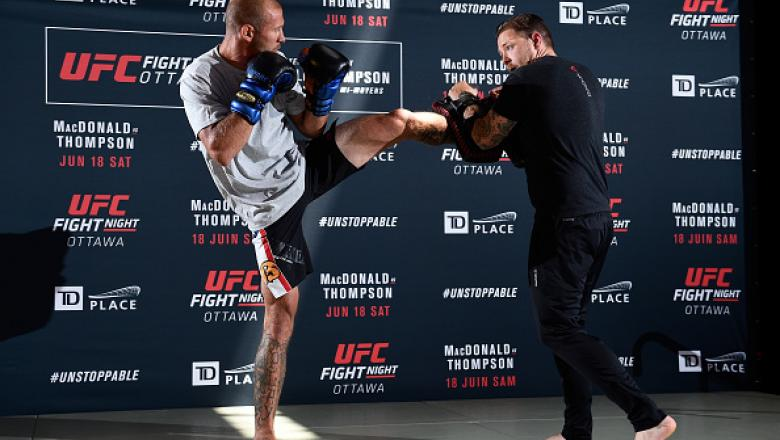 OTTAWA, ON - JUNE 16:  Donald 'Cowboy' Cerrone works out for the fans and media during the UFC Fight Night Open Workouts at the Aberdeen Pavilion on June 16, 2016 in Ottawa, Ontario, Canada. (Photo by Jeff Bottari/Zuffa LLC/Zuffa LLC via Getty Images)