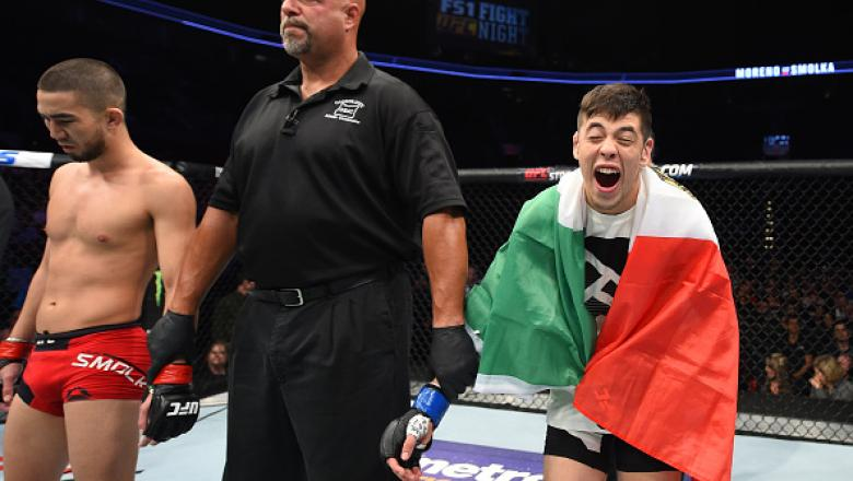PORTLAND, OR - OCTOBER 01:  Brandon Moreno of Mexico celebrates after submitting Louis Smolka in their flyweight bout during the UFC Fight Night event at the Moda Center on October 1, 2016 in Portland, Oregon. (Photo by Josh Hedges/Zuffa LLC/Zuffa LLC via