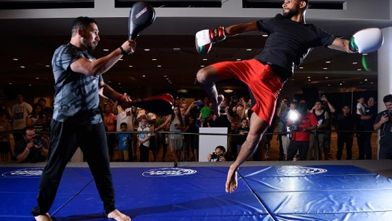 SALT LAKE CITY, UT - AUGUST 04:  Yair Rodriguez of Mexico (R) holds an open workout session for the media at Vivint Smart Home Arena on August 4, 2016 in Salt Lake City, Utah. (Photo by Jeff Bottari/Zuffa LLC/Zuffa LLC via Getty Images)
