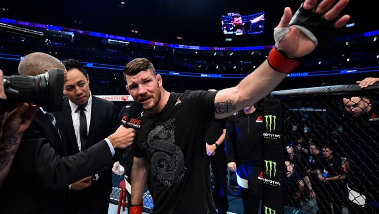 SHANGHAI, CHINA - NOVEMBER 25:  Michael Bisping of England is interviewed after his knockout loss to Kelvin Gastelum in their middleweight bout during the UFC Fight Night event inside the Mercedes-Benz Arena on November 25, 2017 in Shanghai, China. (Photo