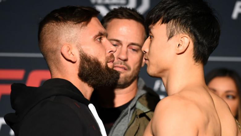 ST. LOUIS, MO - JANUARY 13:  (L-R) Opponents Jeremy Stephens and Dooho Choi of South Korea face off during the UFC Fight Night weigh-in on January 13, 2018 in St. Louis, Missouri. (Photo by Josh Hedges/Zuffa LLC/Zuffa LLC via Getty Images)