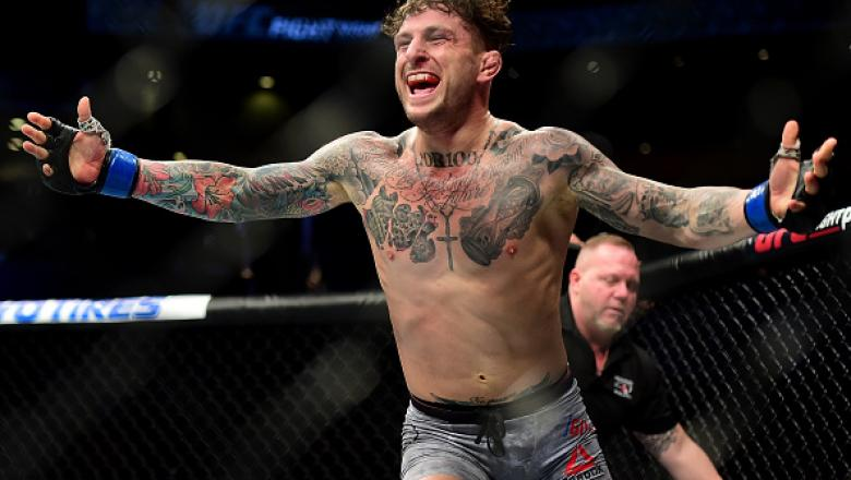 CHARLOTTE, NC - JANUARY 27:   Gregor Gillespie reacts after defeating Jordan Rinaldi in their lightweight bout during the UFC Fight Night event inside the Spectrum Center on January 27, 2018 in Charlotte, North Carolina.  (Photo by Jared C. Tilton /Zuffa