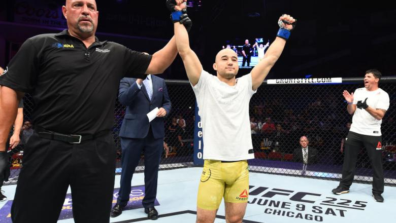 UTICA, NY - JUNE 01:  Marlon Moraes of Brazil celebrates after defeating Jimmie Rivera in their bantamweight fight during the UFC Fight Night event at the Adirondack Bank Center on June 1, 2018 in Utica, New York. (Photo by Josh Hedges/Zuffa LLC/Zuffa LLC