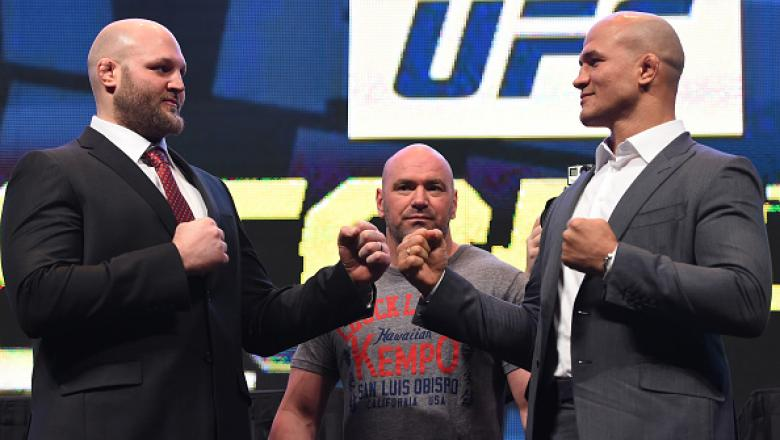 LAS VEGAS, NV - MARCH 04:  (L-R) Opponents Ben Rothwell and Junior dos Santos face off during the UFC Unstoppable launch press conference at the MGM Grand Garden Arena on March 4, 2016 in Las Vegas, Nevada. (Photo by Josh Hedges/Zuffa LLC/Zuffa LLC via Ge