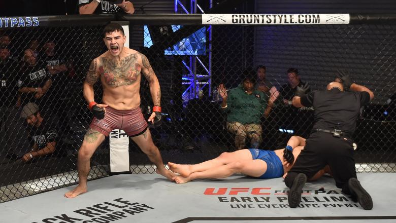 LAS VEGAS, NV - JUNE 19:  Anthony Hernandez celebrates after his knockout victory over Jordan Wright in their middleweight bout during Dana White's Tuesday Night Contender Series at the TUF Gym on June 19, 2018 in Las Vegas, Nevada. (Photo by Elliott Howa