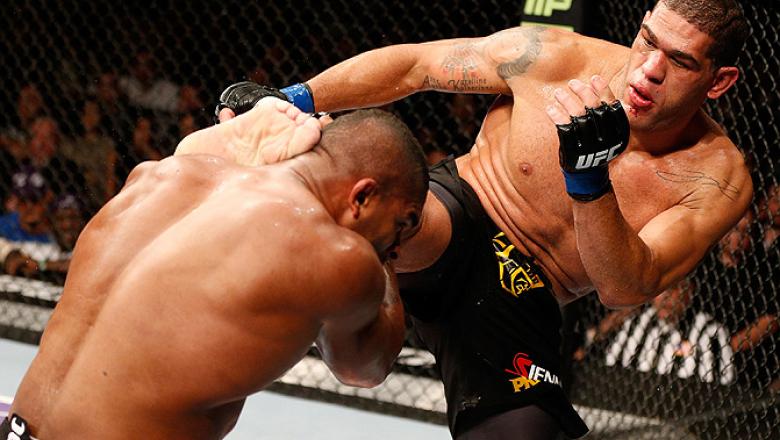LAS VEGAS, NV - FEBRUARY 02:  (R-L) Antonio Silva kicks Alistair Overeem during their heavyweight fight at UFC 156 on February 2, 2013 at the Mandalay Bay Events Center in Las Vegas, Nevada.  (Photo by Josh Hedges/Zuffa LLC/Zuffa LLC via Getty Images) ***