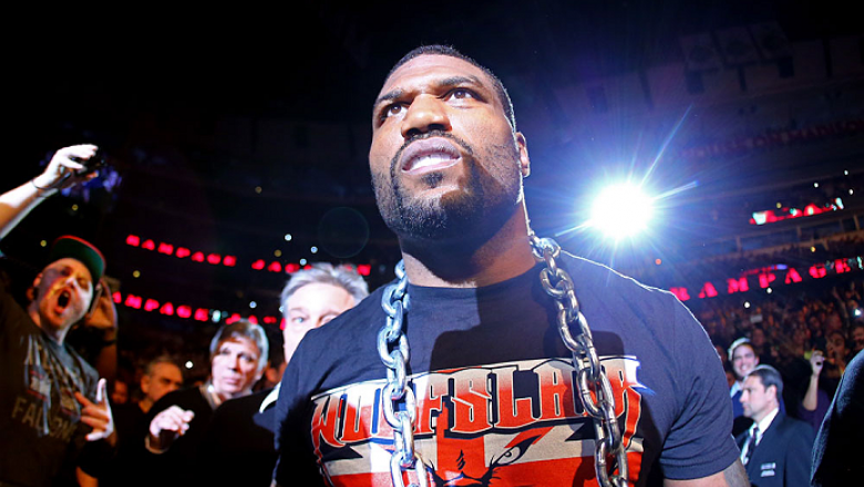 CHICAGO, IL - JANUARY 26:  Rampage Jackson walks to the octagon prior to his Light Heavyweight Bout against Glover Teixeira part of UFC on FOX at United Center on January 26, 2013 in Chicago, Illinois.  (Photo by Al Bello/Zuffa LLC/Zuffa LLC Via Getty Ima