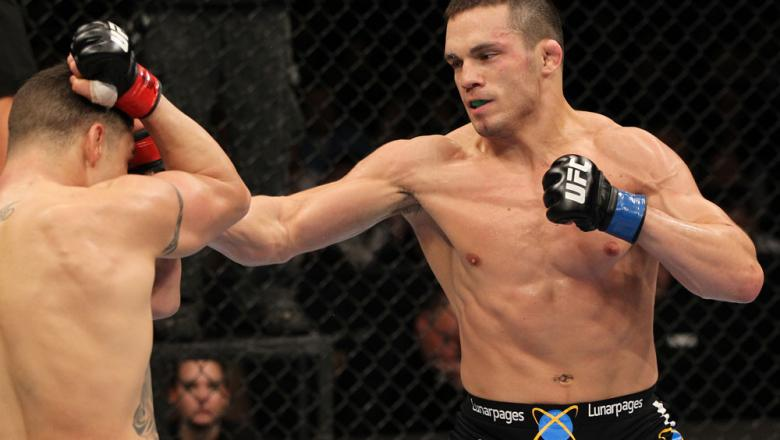 OMAHA, NE - FEBRUARY 15:  (R-L) Jake Ellenberger punches Diego Sanchez during the UFC on FUEL TV event at Omaha Civic Auditorium on February 15, 2012 in Omaha, Nebraska.  (Photo by Josh Hedges/Zuffa LLC/Zuffa LLC via Getty Images) *** Local Caption *** Ja