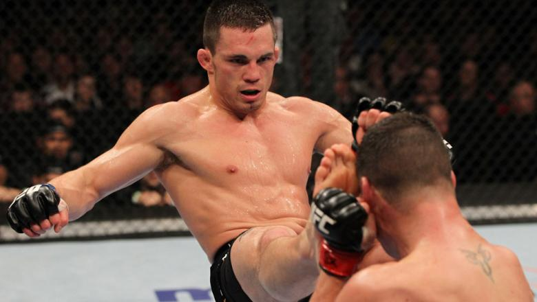 OMAHA, NE - FEBRUARY 15:  (L-R) Jake Ellenberger kicks Diego Sanchez during the UFC on FUEL TV event at Omaha Civic Auditorium on February 15, 2012 in Omaha, Nebraska.  (Photo by Josh Hedges/Zuffa LLC/Zuffa LLC via Getty Images) *** Local Caption *** Jake