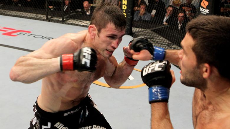 Amir Sadollah (L) of the USA fights Peter Sobatta of Germany during their UFC Welterweight bout at the Konig Pilsner Arena on November 13, 2010 in Oberhausen, Germany. (Photo by Josh Hedges/Zuffa LLC/Zuffa LLC)