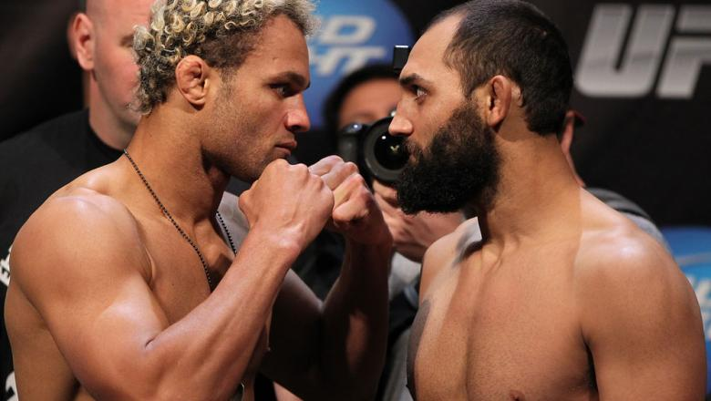 EAST RUTHERFORD, NJ - MAY 04:  (L-R) Welterweight opponents Josh Koscheck and Johny Hendricks face off after weighing in during the UFC on FOX official weigh in at Izod Center on May 4, 2012 in East Rutherford, New Jersey.  (Photo by Josh Hedges/Zuffa LLC