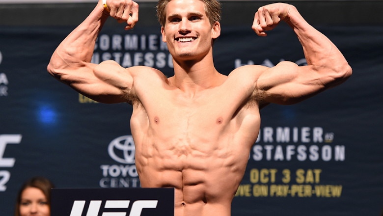 HOUSTON, TX - OCTOBER 02:  Sage Northcutt steps on the scale during the UFC 192 weigh-in at the Toyota Center on October 2, 2015 in Houston, Texas. (Photo by Josh Hedges/Zuffa LLC/Zuffa LLC via Getty Images)