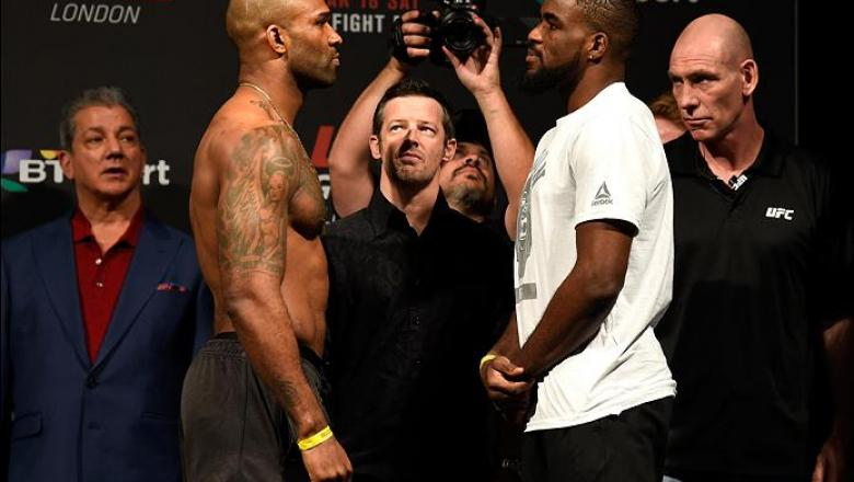 LONDON, ENGLAND - MARCH 17:  (L-R) Jimi Manuwa of England and Corey Anderson of the United States face off during the UFC Fight Night weigh-in at The O2 arena on March 17, 2017 in London, England. (Photo by Josh Hedges/Zuffa LLC/Zuffa LLC via Getty Images