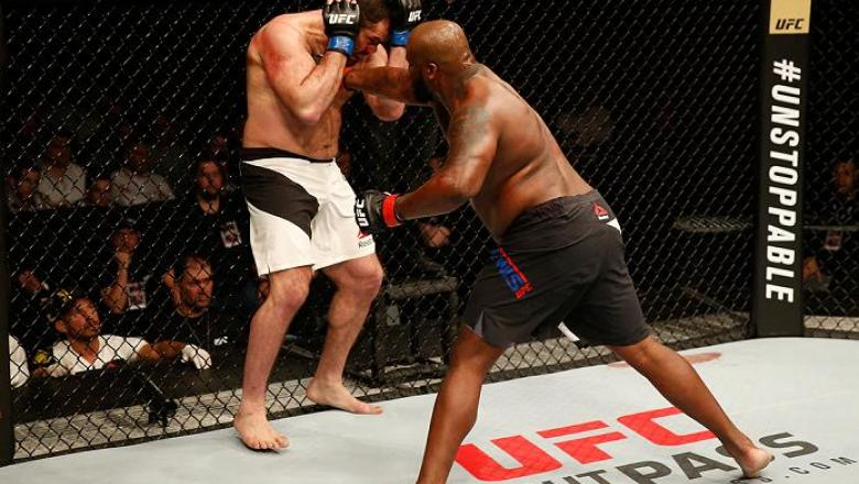 ZAGREB, CROATIA - APRIL 10:   (R-L) Derrick Lewis punches Gabriel Gonzaga in their heavyweight bout during the UFC Fight Night event at the Arena Zagreb on April 10, 2016 in Zagreb, Croatia. (Photo by Srdjan Stevanovic/Zuffa LLC/Zuffa LLC via Getty Images