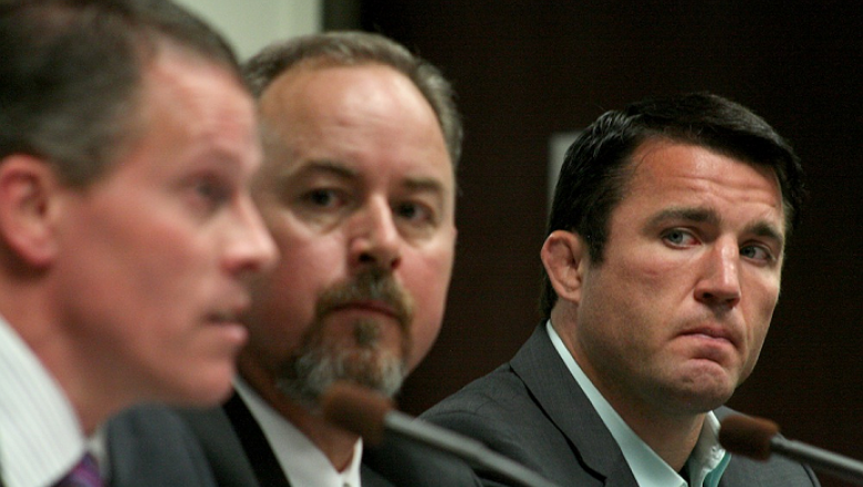Former UFC middleweight Chael Sonnen is photographed along with his representatives during his hearing on July 23, 2014. Sonnen was suspended two years from competing in Las Vegas or anywhere else by the NSAC for his admitted use of banned substances earl