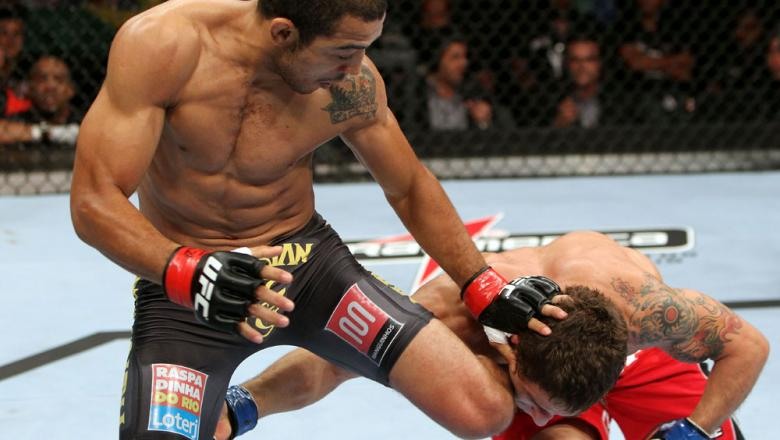 RIO DE JANEIRO, BRAZIL - JANUARY 14:  Jose Aldo(L) knees Chad Mendes (R) in a featherweight bout during UFC 142 at HSBC Arena on January 14, 2012 in Rio de Janeiro, Brazil.  (Photo by Josh Hedges/Zuffa LLC/Zuffa LLC via Getty Images)