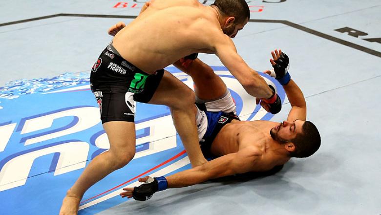 TORONTO, CANADA - SEPTEMBER 21:  (L-R) John Makdessi punches Renee Forte in their UFC lightweight bout at the Air Canada Center on September 21, 2013 in Toronto, Ontario, Canada. (Photo by Al Bello/Zuffa LLC/Zuffa LLC via Getty Images) *** Local Caption *