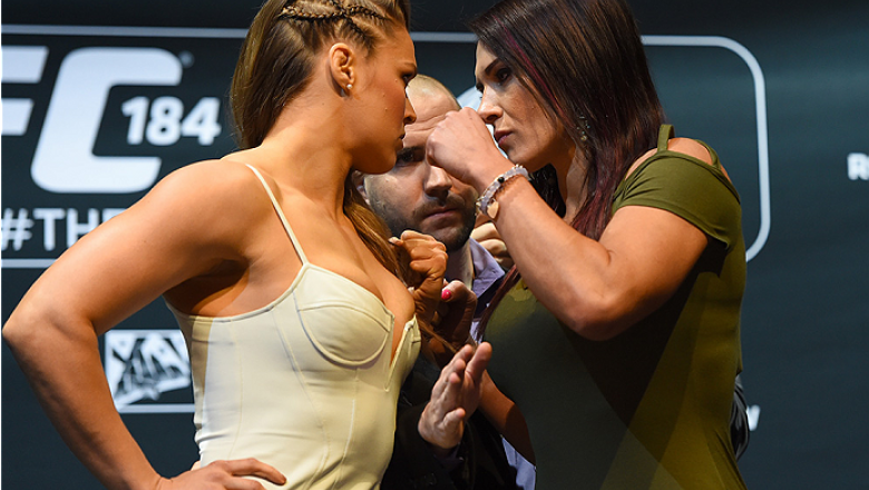 LOS ANGELES, CA - FEBRUARY 25:  (L-R) Opponents Ronda Rousey and Cat Zingano face off during the UFC 184 Ultimate Media Day at Club Nokia on February 25, 2015 in Los Angeles, California. (Photo by Josh Hedges/Zuffa LLC/Zuffa LLC via Getty Images)