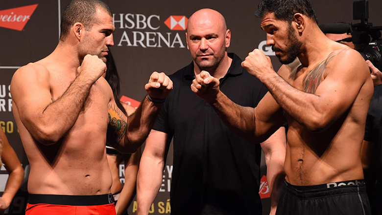 RIO DE JANEIRO, BRAZIL - JULY 31:  (L-R) Mauricio Rua and Antonio Rogerio Nogueira face off during the UFC 190 weigh-in inside HSBC Arena on July 31, 2015 in Rio de Janeiro, Brazil.  (Photo by Josh Hedges/Zuffa LLC/Zuffa LLC via Getty Images)