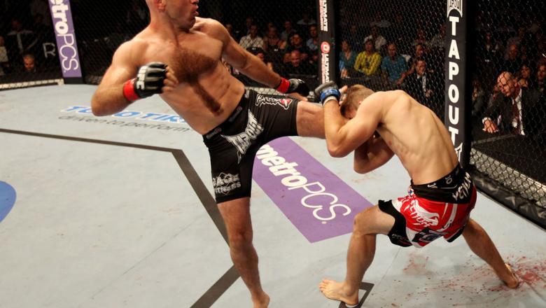 ATLANTIC CITY, NJ - JUNE 22: Brian Ebersole (L) kicks T.J. Waldburger (R) in a welterweight bout during UFC on FX 4 at Revel Casino on June 22, 2012 in Atlantic City, New Jersey.  (Photo by Nick Laham/Zuffa LLC/Zuffa LLC)
