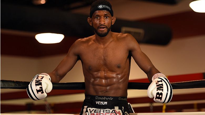 BROOMFIELD, CO - FEBRUARY 12:  Neil Magny holds an open training session for fans and media at the UFC Gym on February 12, 2015 in Broomfield, Colorado. (Photo by Josh Hedges/Zuffa LLC/Zuffa LLC via Getty Images)