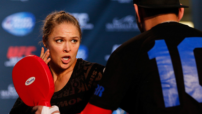 LAS VEGAS, NV - JULY 02:  UFC women's bantamweight champion Ronda Rousey holds an open training session ahead of UFC 175 at the Fashion Show Mall on July 2, 2014 in Las Vegas, Nevada.  (Photo by Josh Hedges/Zuffa LLC/Zuffa LLC via Getty Images)