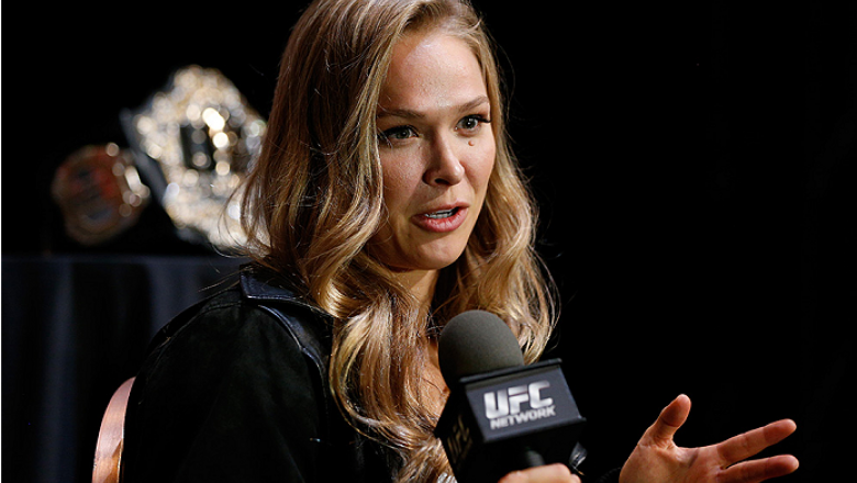 LAS VEGAS, NV - JULY 03:  UFC women's bantamweight champion Ronda Rousey interacts with media during the UFC Ultimate Media Day at the Mandalay Bay Resort and Casino on July 3, 2014 in Las Vegas, Nevada.  (Photo by Josh Hedges/Zuffa LLC/Zuffa LLC via Gett