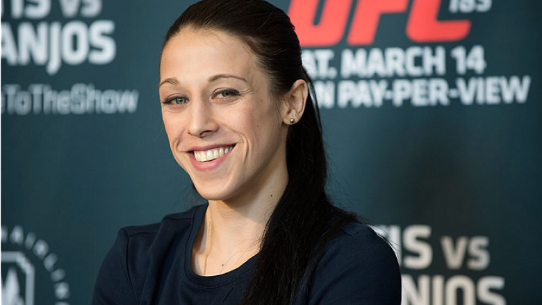 DALLAS, TX - MARCH 12:  Joanna Jedrzejczyk speaks with the media during the UFC 185 Ultimate Media Day at the American Airlines Center on March 12, 2015 in Dallas, Texas. (Photo by Cooper Neill/Zuffa LLC/Zuffa LLC via Getty Images)