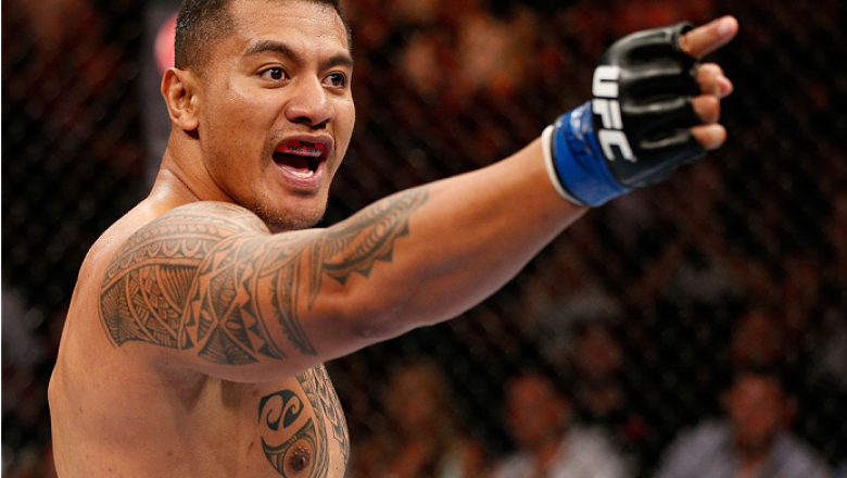 BRISBANE, AUSTRALIA - DECEMBER 07:  Soa Palelei reacts after his TKO victory over Pat Barry in their heavyweight fight during the UFC Fight Night event at the Brisbane Entertainment Centre on December 7, 2013 in Brisbane, Australia. (Photo by Josh Hedges/